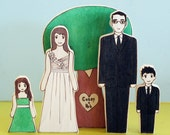 Custom Family Wedding Cake Topper-Two Adults, Two Children, and One Sweetheart Tree