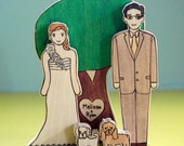 Custom Wedding Cake Topper Couple with Sweetheart Tree and Two Pets