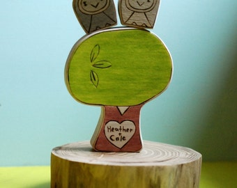 Owl Pair with Personalized Sweetheart Tree Wedding Cake Topper Love Gift