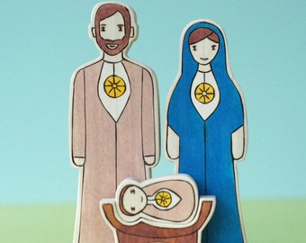 Wooden Star House Small 3 Piece  Nativity- Jesus, Mary and Joseph
