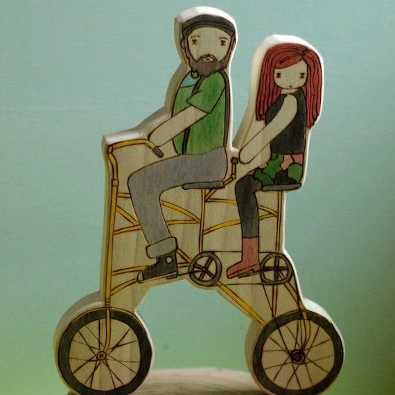 Custom Wooden Star House Wedding Topper on Double Bike
