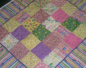 BABY GIRL QUILT, 32 x 36 modern color block quilt