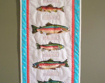 Sale - 5 RIVER TROUT, 12 x 36 hand quilted wallhanging
