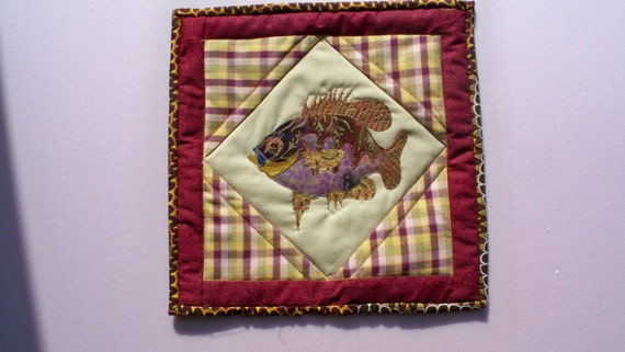 Sale - SUNFISH, 11 in. square quilted art panel