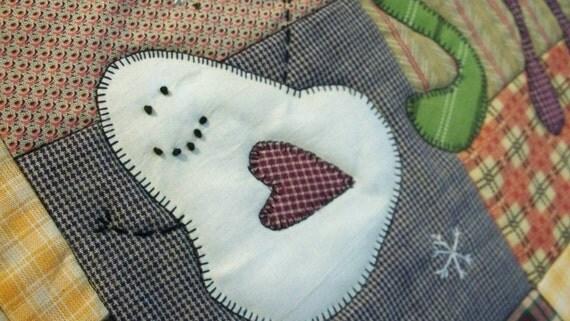 HAPPY SNOWMAN, 19X11 scrappy quilt