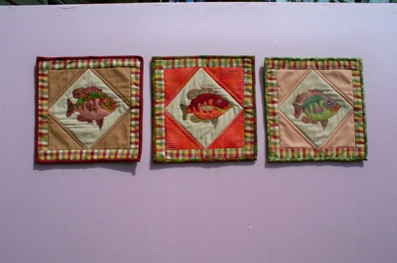 Sale - Three 11 inch fiber art fish quilted panels