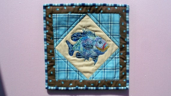 Sale -BLUE PANFISH, 11 square inch fiber art quilt panel