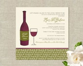 Wine Theme Bridal Shower Invitations -  Bottle and Glass