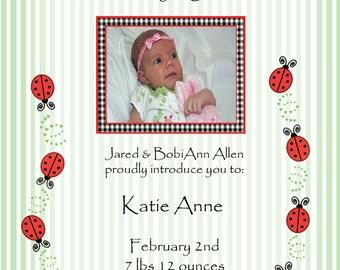 Ladybug Birth Announcement - Photo