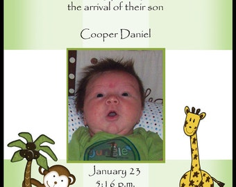 Birth Announcement-Jungle Friends