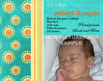 Photo Birth Announcement - Colorful circles and stripes
