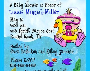 Baby Shower Invitation-Bobbin' On the Sea