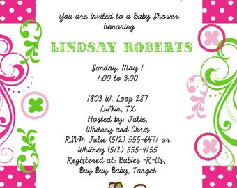 Patchwork Pink and Green Baby Shower Invitation