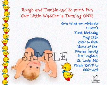 Rough and Tumble First Birthday Party Invitation