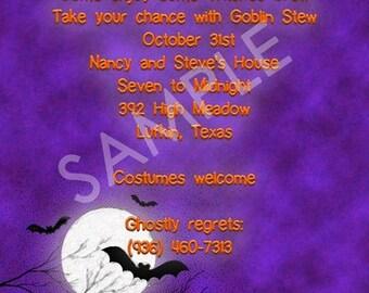 Party Invitations-Halloween Bats