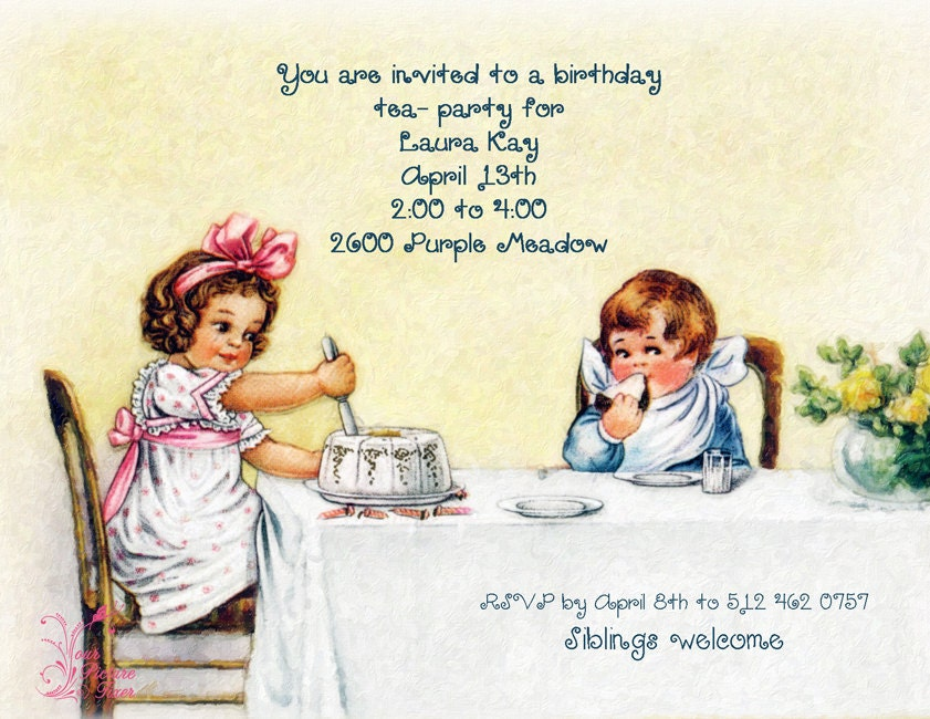Vintage Childrens Tea Party Invitation – Kids Tea Party Invitations