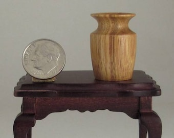 Dollhouse Miniature Woodturning Canarywood Vase 1:12