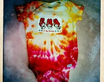 MY MELODY SANRIO Hello Kitty  Tie Dye (12 mo) Onesie