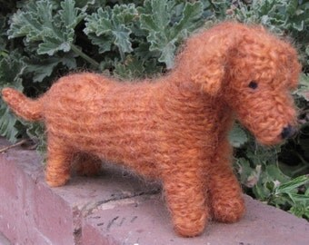 Rex the Knitted Dachshund Toy, Soft Mohair Yarn,