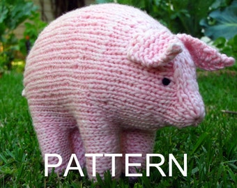 Pig Knitting Pattern, Waldorf, Toy, PDF (Large) Instant Digital Download