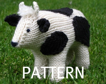 Cow Knitting Pattern, PDF, Waldorf Toy, Instant Digital Download