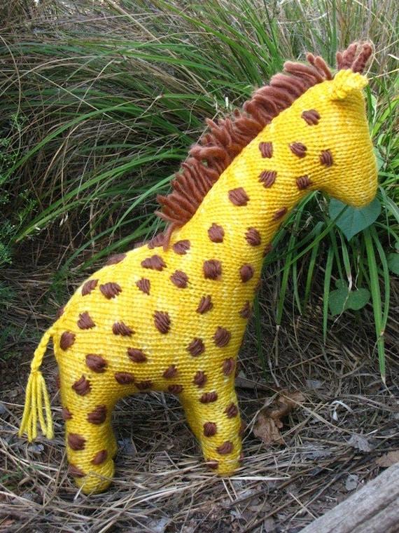 South African Giraffe Knitted Toy Merino Yarn Large