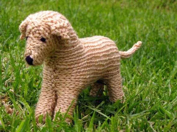 Knitted Dog Pattern : Sandy the knitted Labrador Dog Toy Naturally Dyed Eucalyptis