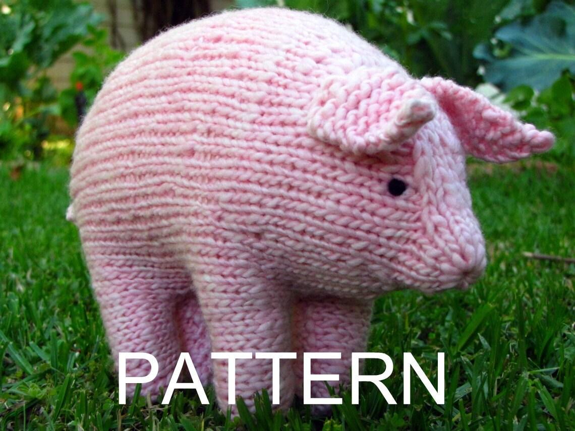 Pig Knitting Pattern Waldorf Toy PDF Large Instant
