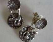 AL DENTE  Classy, Modern, Classic, Sterling Stud with Fused free form Jacket Dangle Earrings Oxidized Patterned