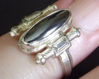 Hematite and Solid Cast Sterling  Fine Silver Ring women's size 5 1/2 Goth Sword Hilt