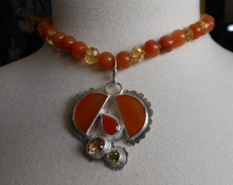 "Orange Aventurine & Citrine 16"" to 18"" Necklace with Stunning Focal, Fruit Bowl, DSL Makers Mark,"