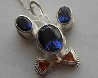 Mouse Pendant, Sapphire, Garnet, Gold