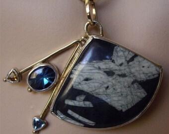 Straight Arrows Pendant, Asian Influence, Chinese Writing Stone, BlueTopaz, Citrine, 14kGold, Art Jewelry