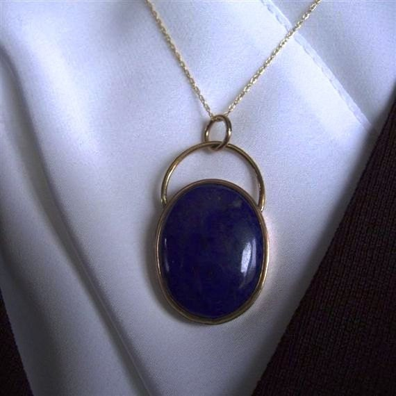 Lapis and 10K Yellow Gold Pendant and Chain