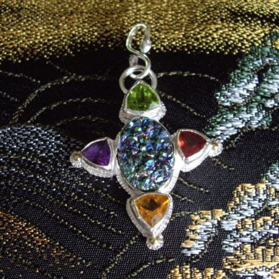 Peacock Druzy, Gemstones Pendant, Fire, Color, Sparkle, Cross inspired, Spring Green, Purple, Red, Golden Yellow, 18K Gold