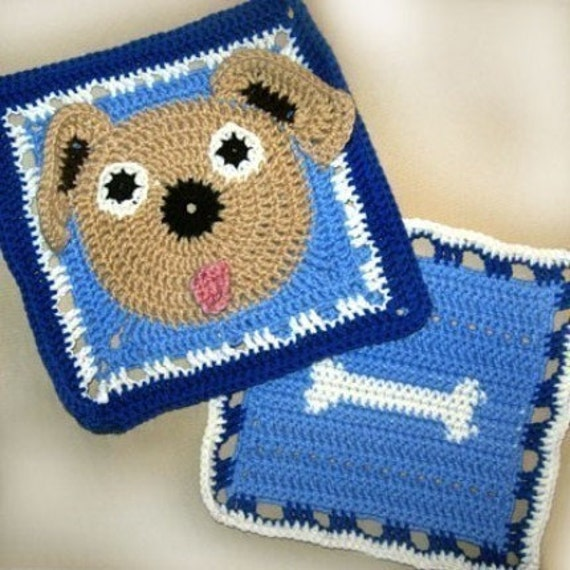 Free Crochet Granny Square Dog Sweater : Ruff the Dog and Bone Granny Square Crochet PATTERN Original