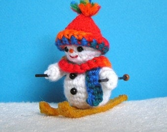 Pdf Crochet Pattern MINI SKIING SNOWMAN