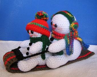 PDF Crochet Pattern  TOBOGGANING SNOWMEN (English only)