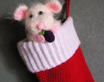 CHRISTMAS STOCKING with  MOUSE Pdf Crochet pattern
