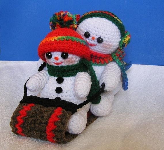 PDF Crochet Pattern TOBOGGANING SNOWMEN by bvoe668 on Etsy