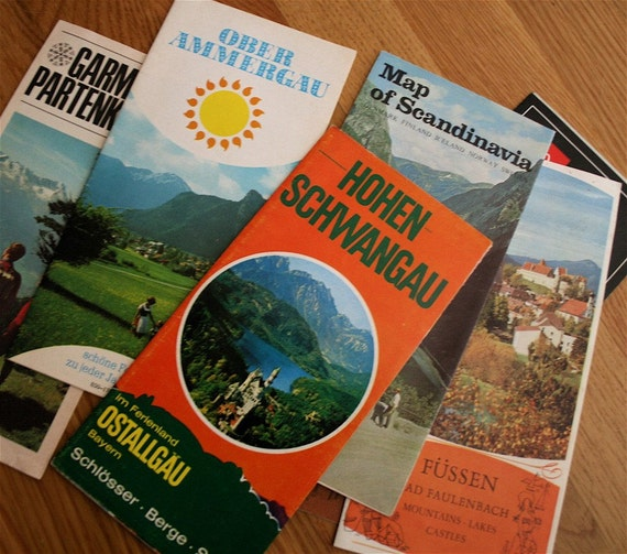 Vintage Lot of European Travel Pamphlets Maps Brochures Ephemera RARE