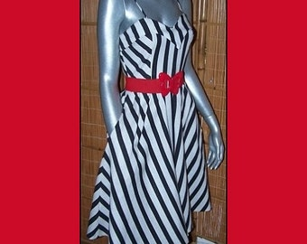 70s Vintage ADORABLE Black White Sundress with Red Butterfly Belt