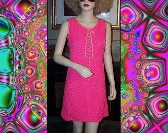 Fun Vintage 60s Hot Pink Mini Popcorn Dress