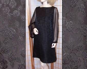 60s Mad Men Black Damask MOD Vintage Dress L XL