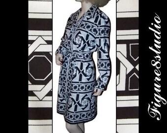 70s Vintage Geometric Black & White Tori Richard Shirt Dress L On Sale