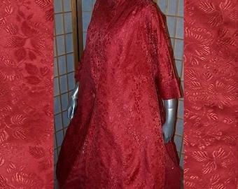 60s Vintage Swing Red Damask Evening Coat Large X Large