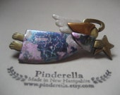 Angel with star pin in lavender and blue marbled dress