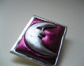 Crescent Moon in burgundy and silver  man on the moon Pin Brooch