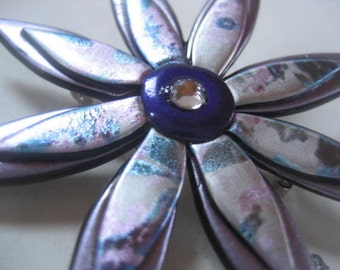 Flower Pin in Lavender, Blue, Purple, and Silver with Rhinestone Center Brooch