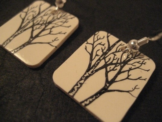 black on Ivory Tree earrings